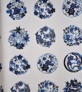 Médaillon - bleu sur blanc