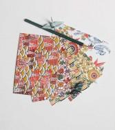 5 cartes postales : série rouge