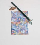 carte postale - bal des éventails bleu
