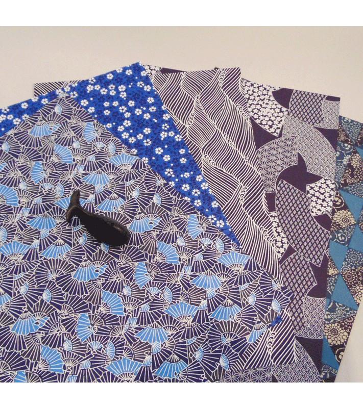 papier japonais origami chiyogami feuille bleu 36 x 26 5 cm. Black Bedroom Furniture Sets. Home Design Ideas