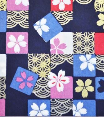 damier fleuri - bleu