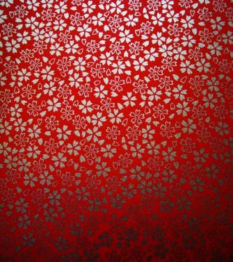 délicatesse florale - doré sur fond rouge vif