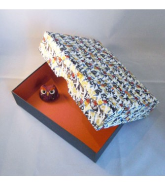 grande boîte recouverte de chiyogami aspect froissé - teinte bleue