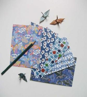 5 cartes postales : série bleue
